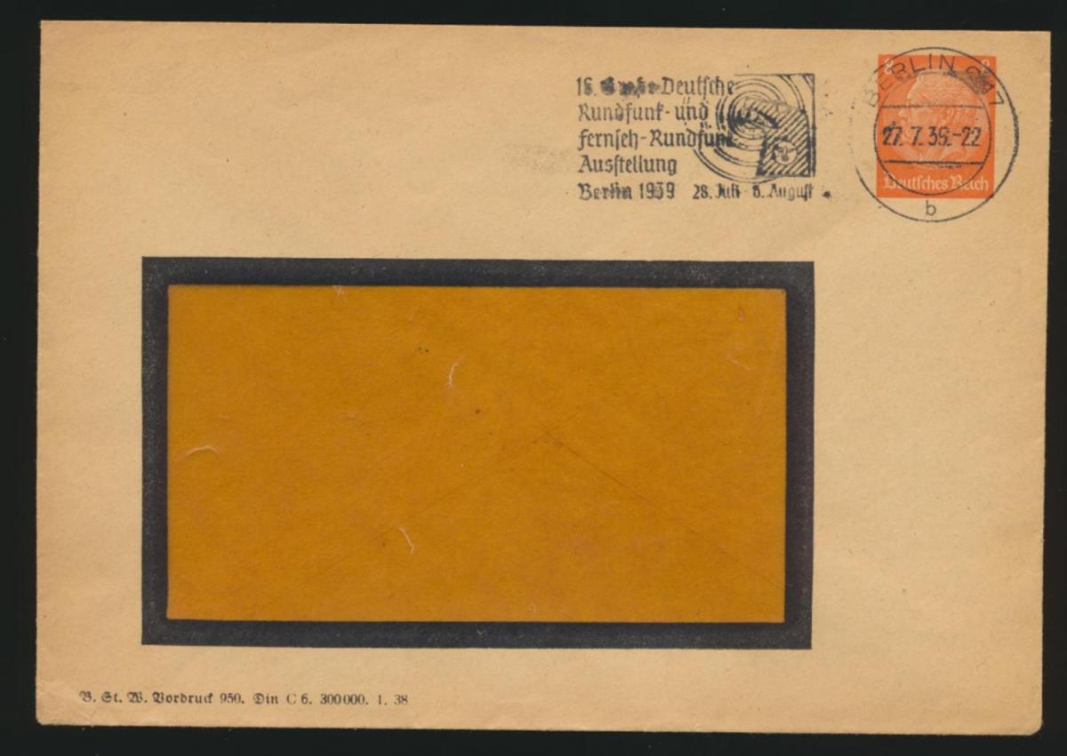Reich Privatganzsache PU 131 B4 09 Hindenburg Werbestempel Rundfunk Ausstellung 0
