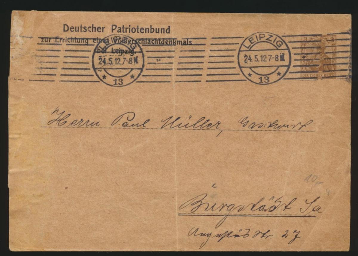 Deutsches Reich Privatganzsache Streifband PS 8 Leipzig Patrotenbund