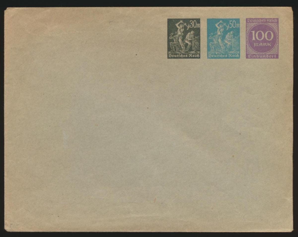 Deutsches Reich Privatganzsache Umschlag PU 93 A 02 Arbeiter + Ziffer