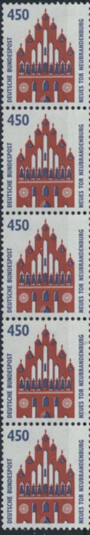 Bund 1623 R I 5er-Streifen - 450 Pf Neues Tor Neubrandenburg SWK.