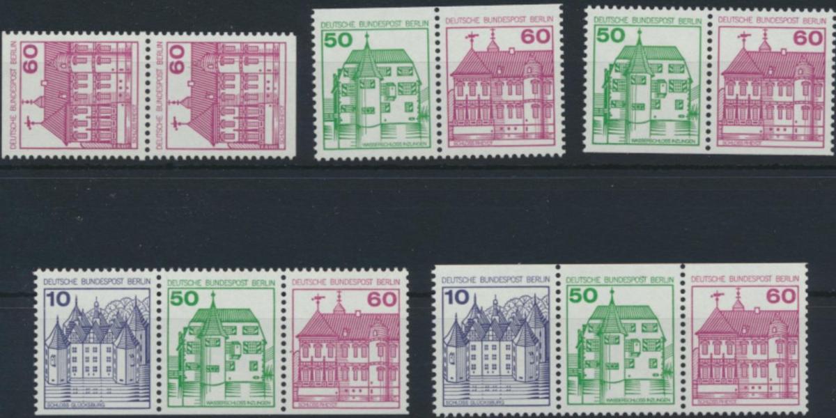 Berlin Zusammendrucke aus MH 12 W75-W78 611 C/D ** 1980