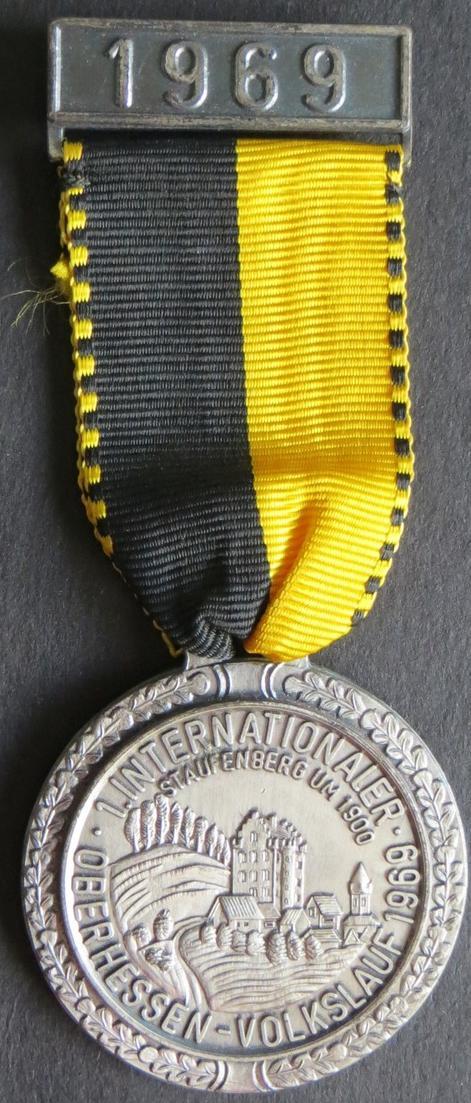 Medaille 1. Internationaler Volkslauf Oberhessen-Volkslauf 1969 1899 Staufenberg