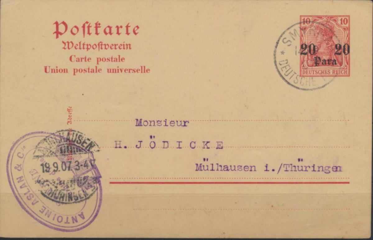 Deutsche Post Türkei P 11 X Smyrna nach Mülhausen Thüringen 14.9.1907 Kolonien 0