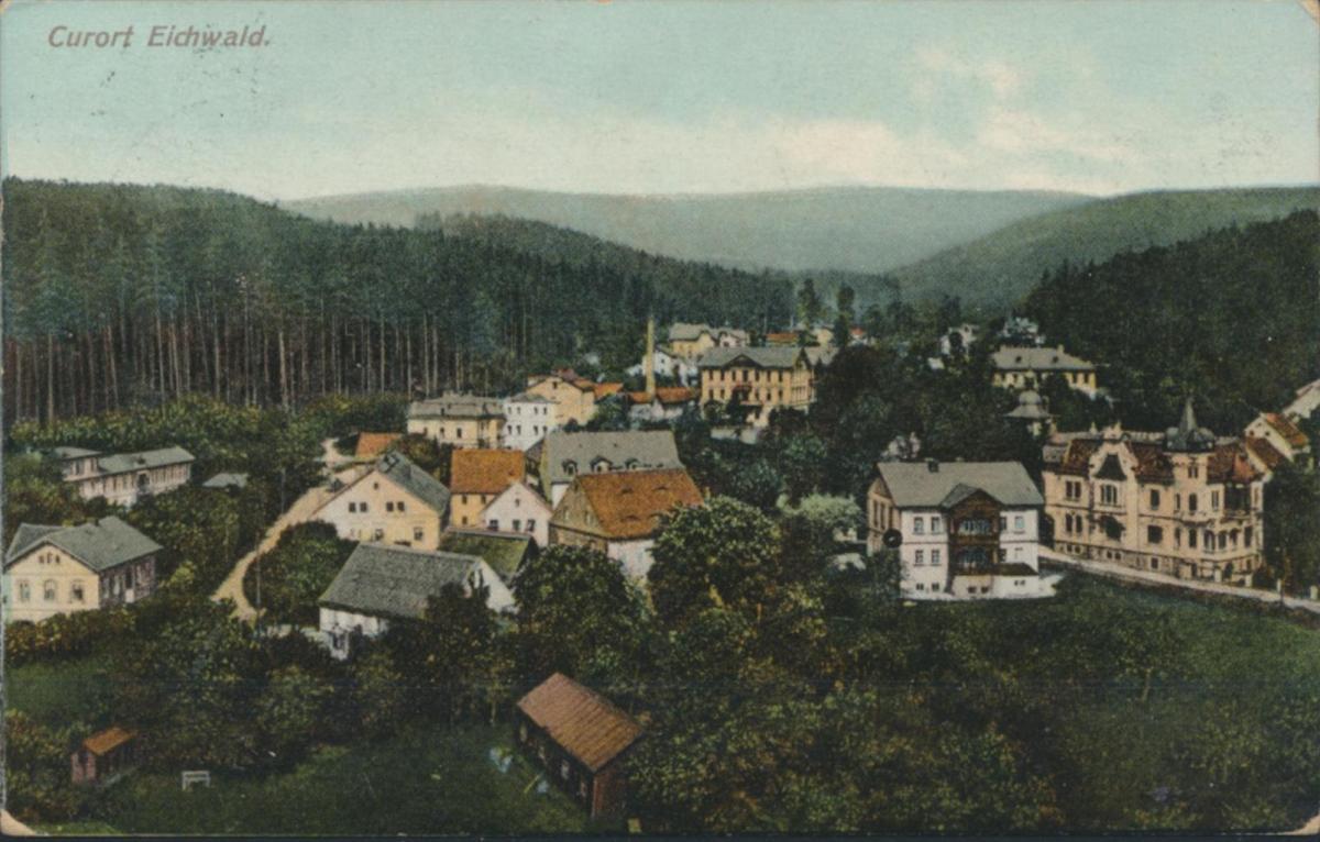 Ansichtskarte Foto Eichwald ab Teplitz nach Chemnitz 1911 Sudeten 0