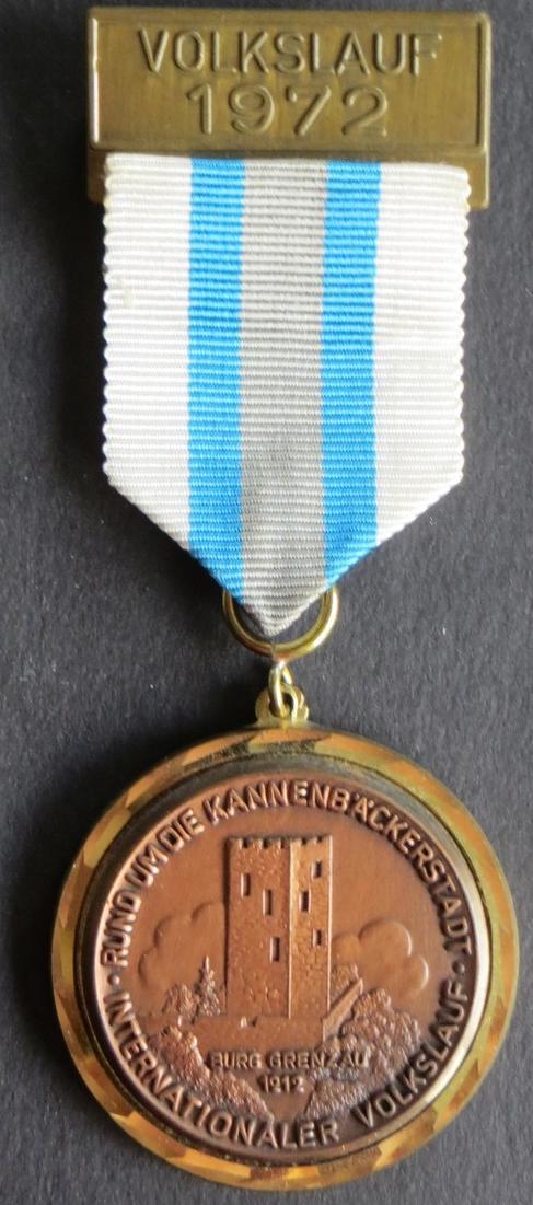 Medaille Internationaler Volkslauf 1972 um die Kannenbäckerstadt VfL Höhr-Grenzh
