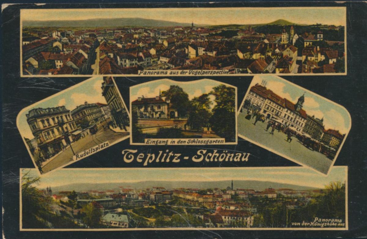 Ansichtskarte Teplitz-Schönau Teplice Foto Rudolfsplatz Vogelperspektive