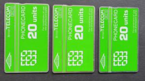 Sammlung 3 Telefonkarten 20 Units British Telecom