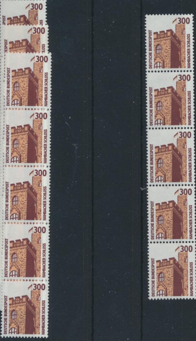 Bund 1348 R I 5er-Streifen - 300 Pf Hambacher Schloss SWK.