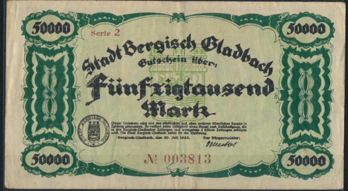 Geldschein Banknote Notgeld Bergisch Gladbach 50000 Mark 20.07.1923