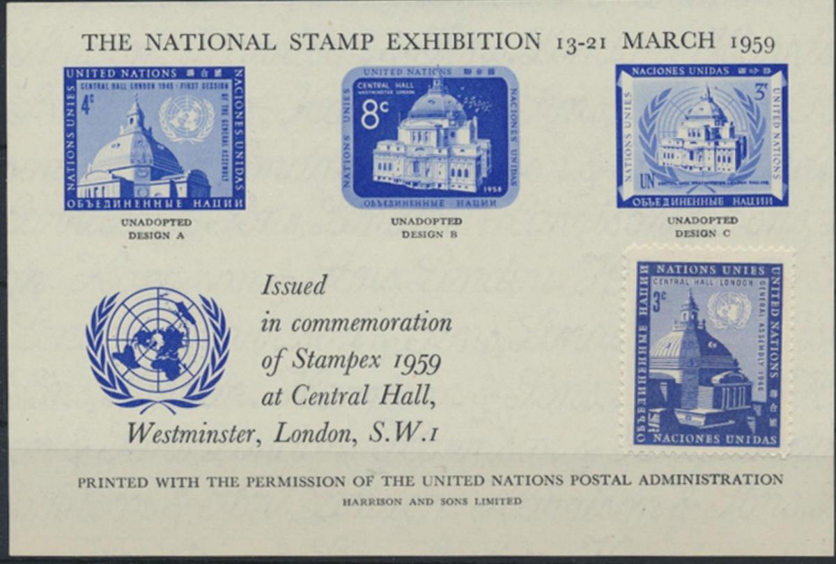 Großbritannien The National Stamp Exhibition Souvenir Sheet 1959
