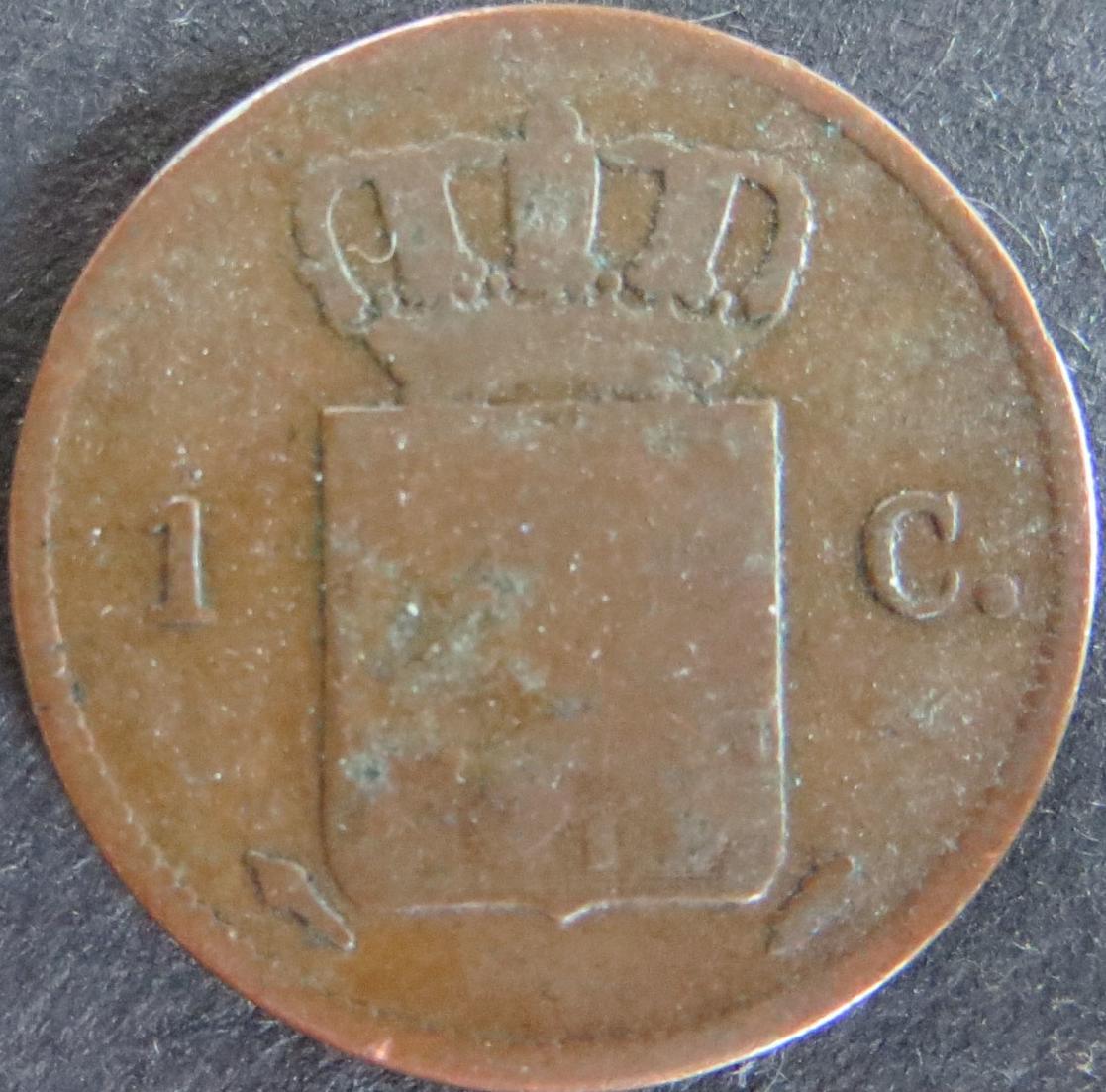 Münze Niederlande Netherlands 1 Cent 1828 schön F