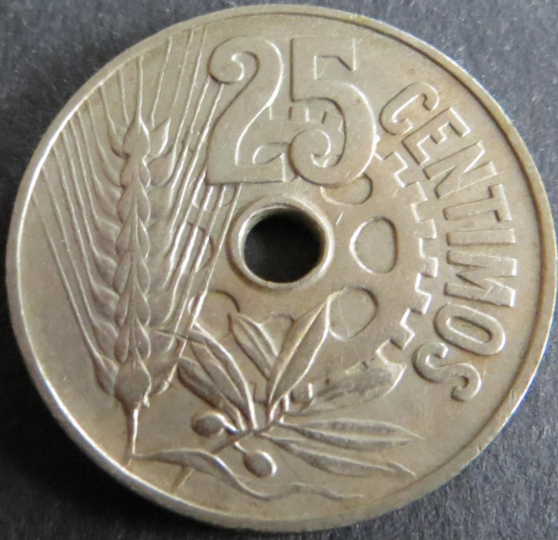 Münze Spanien 25 Centimos 1934 Schön: 16 vz