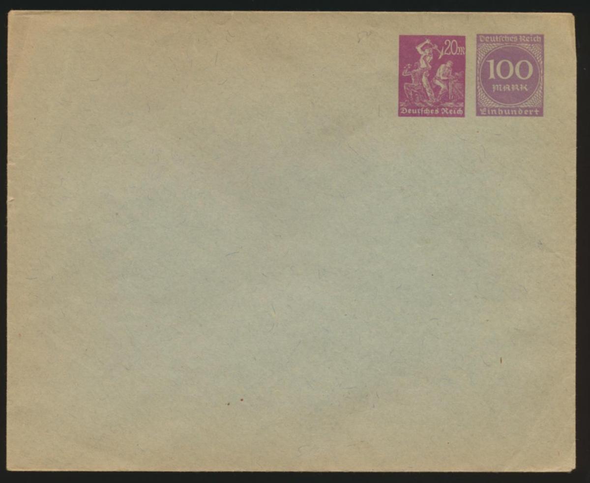 Deutsches Reich Privatganzsache Umschlag PU 92 04 Arbeiter + Ziffer