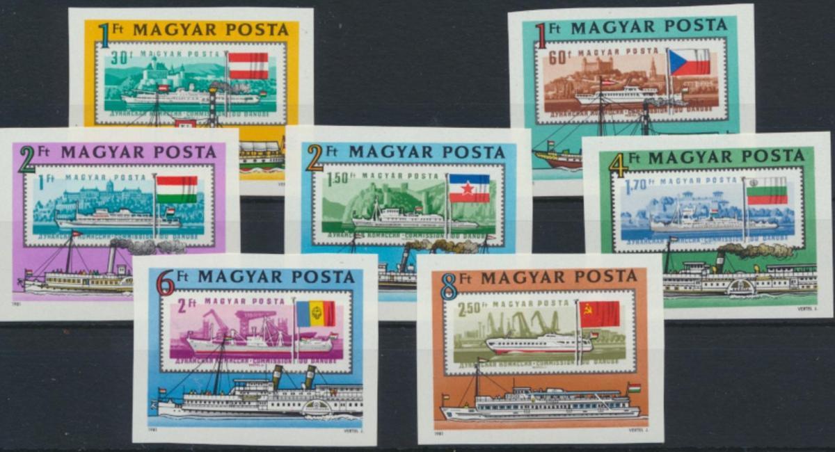 Ungarn 3514-3520 B** - Europäische Donaukommission Schiffe Briefmarken