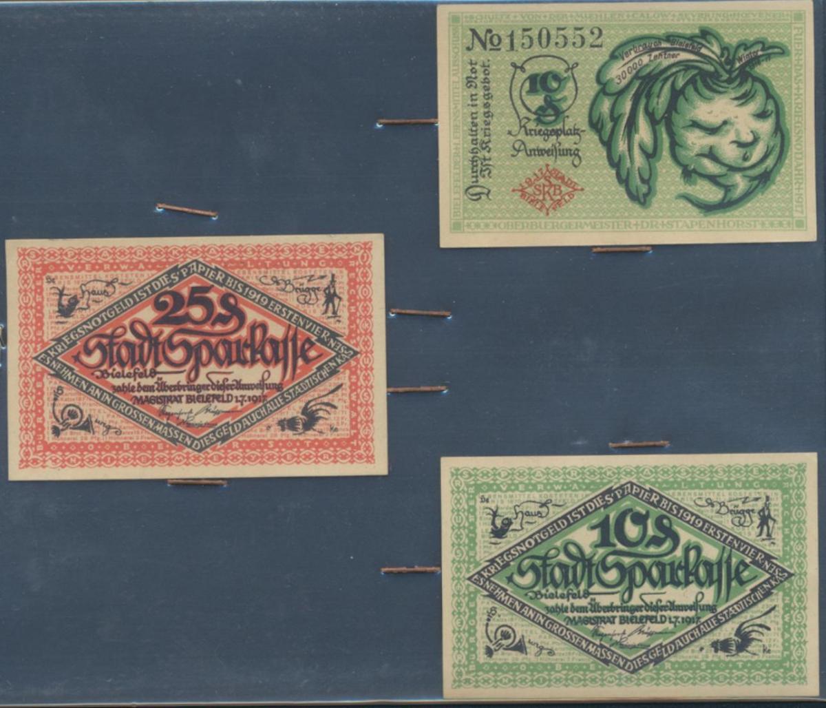 3x Notgeld 10+25 Pfennige Stadtsparkasse Bielefeld 1917 B44