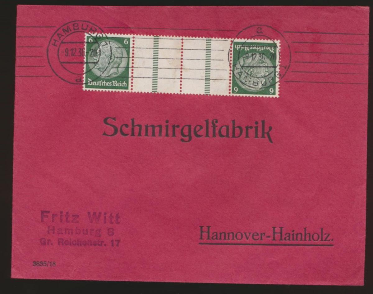 D. Reich Zusammendruck Brief Hindenburg KZ 22.2 Hamburg Hannover Hainholz
