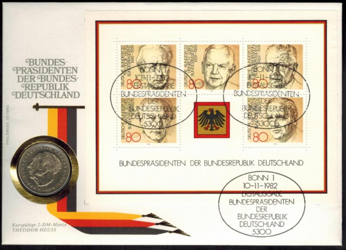 Bundesrepublik Numisbrief Bundespräsidentern der BRD 1982 mit 2DM-Kursmünze