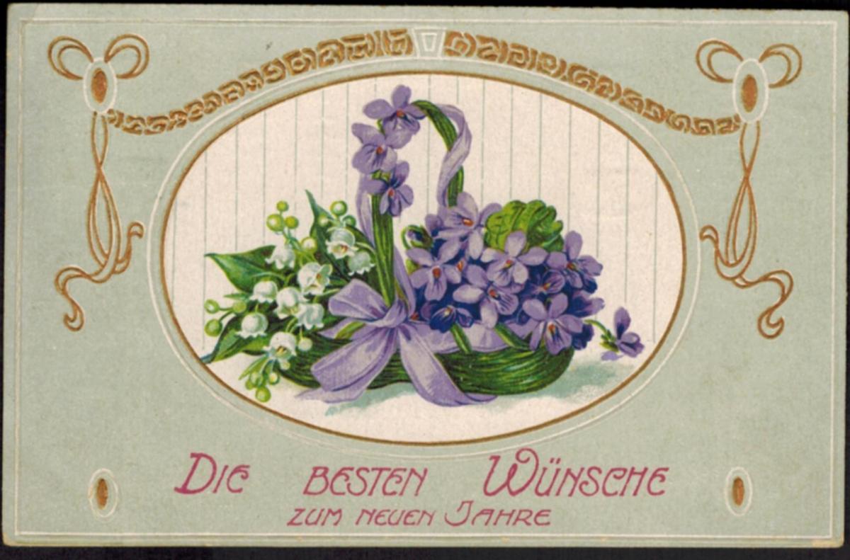 Ansichtskarte Neujahr Jugendstil erhabener Golddruck Druck Blumen gelaufen 1913