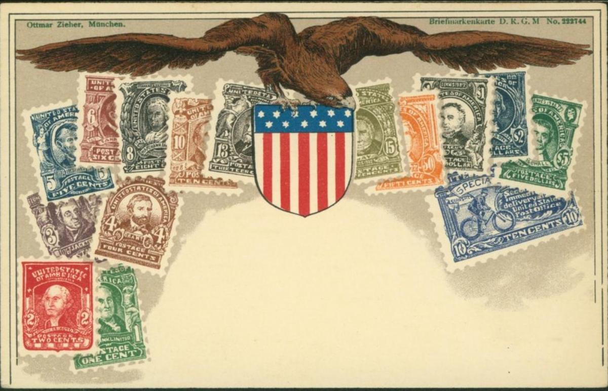 Ansichtskarte Briefmarken Philatelie Wappen USA ungelaufen Verlag Ottmar Zieher