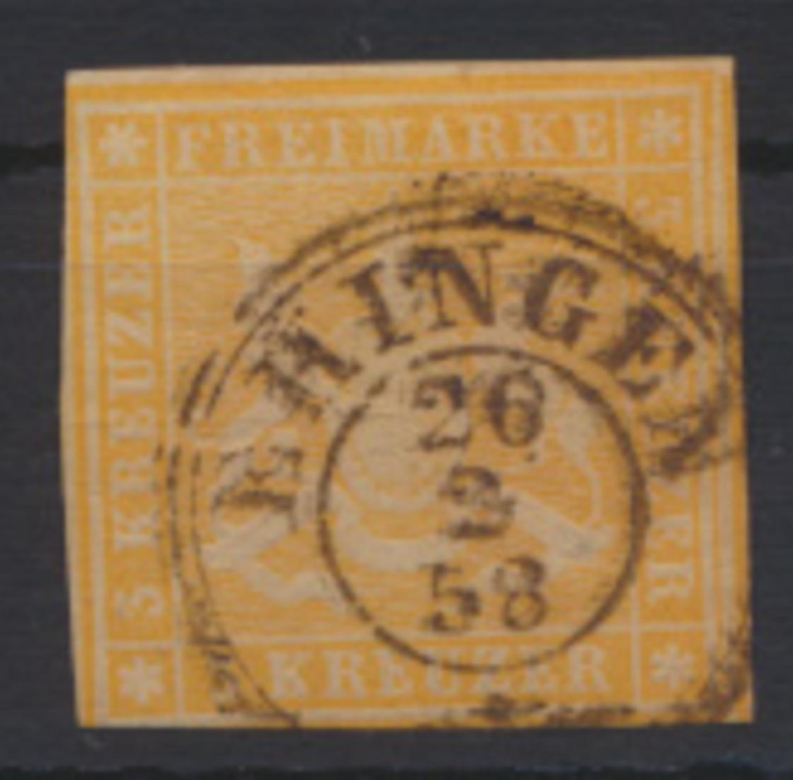 Altdeutschland Württemberg 7 a teils Nebenmarke Stempel K2 Eringen 26.2.1858 0