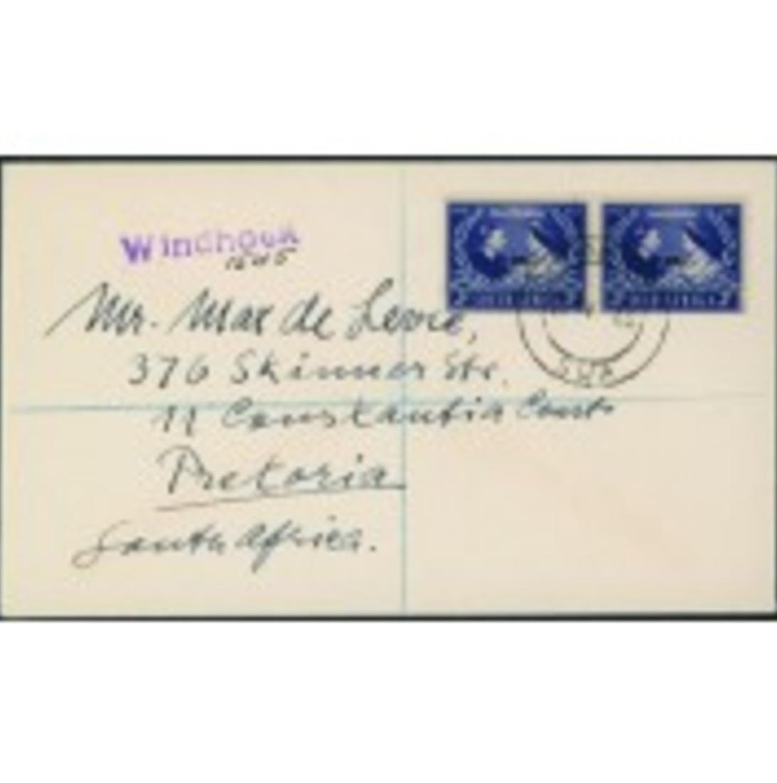 Südafrika Brief Silberhochzeit George VI + Elisabeth 1948