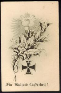 Ansichtskarte I. WK. Mut und Tapferkeit  Eisernes Kreuz