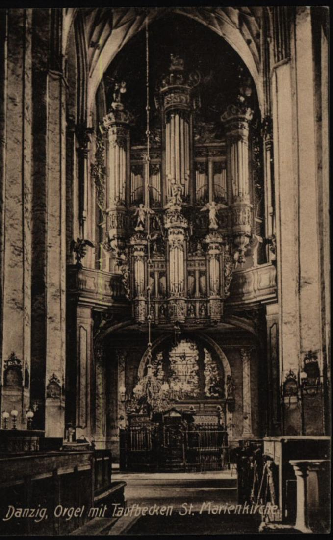 Ansichtskarte Danzig Orgle St. Marienkirche per Feldpost n. Altena Ottensen