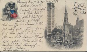 Ansichtskarte USA 90 Old St. Pauls St. Paul Building Broadway New York Passaic