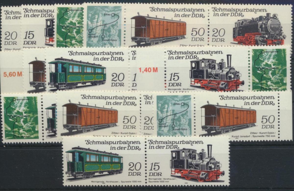 DDR 2792-2795 Eisenbahn kpl.12 Zusammendrucke Luxus postfrisch Kat. 28,00 0