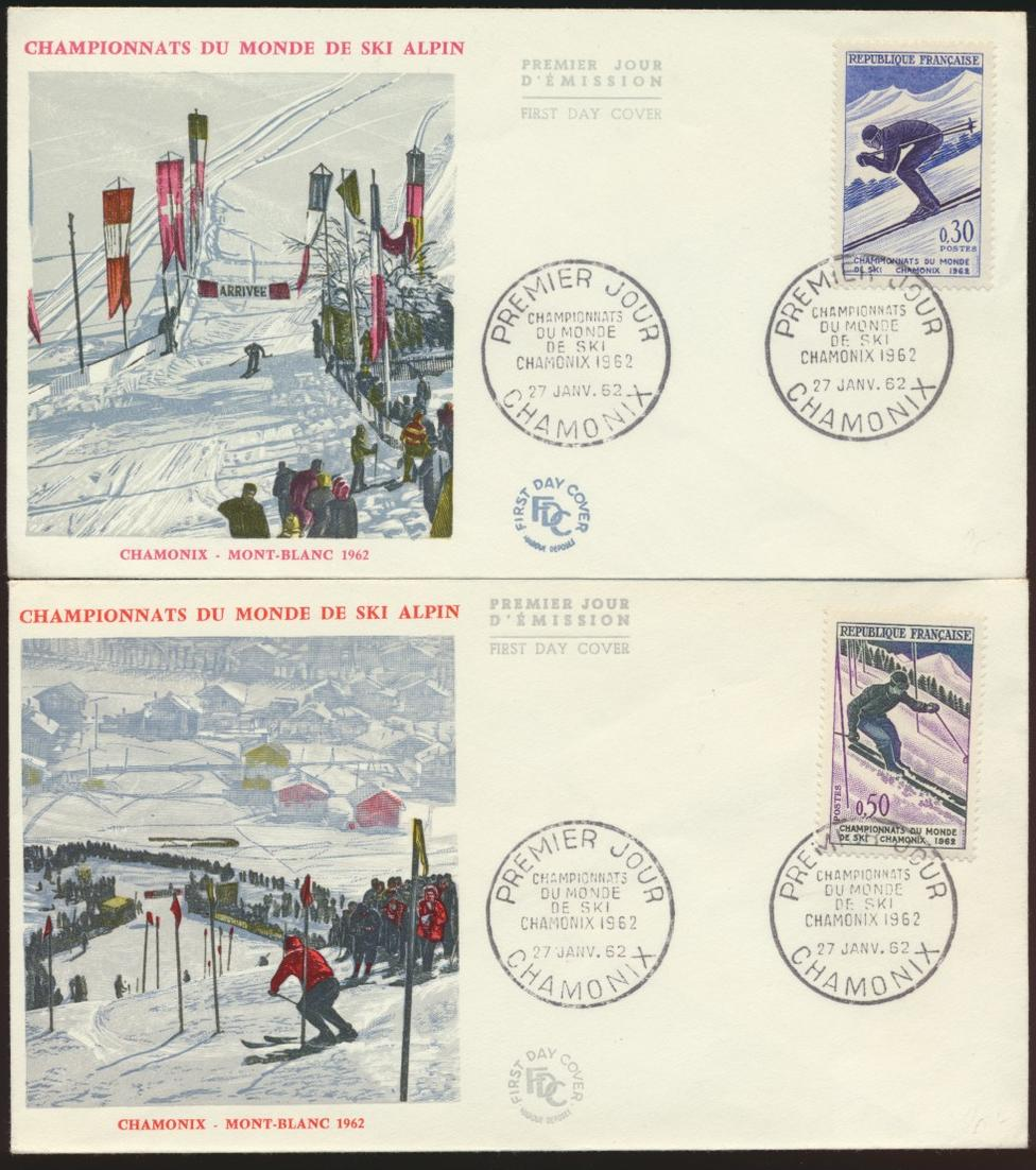 Frankreich 2 schön gestaltete Briefe Wintersport Ski Chamonix 1962