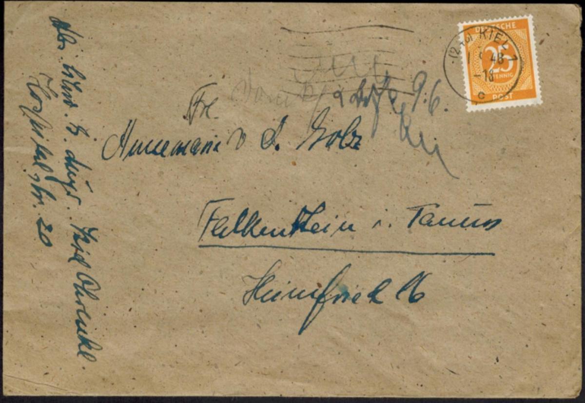 Gemeinschaft Brief EF 927 25 Pfg. Maschinenstempel Kiel ohne Werbeeinsatz 1948