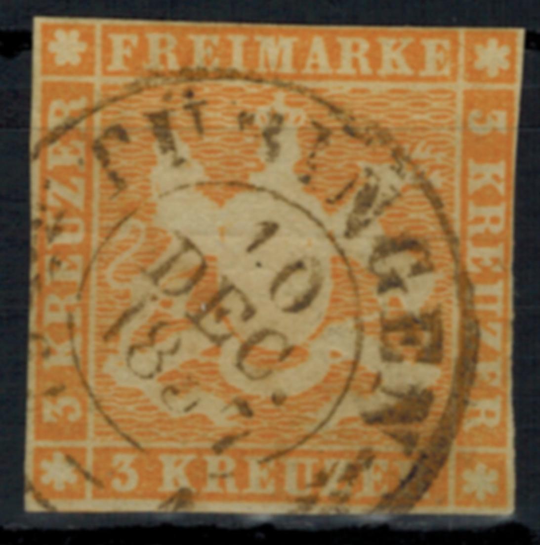 Altdeutschland Württemberg 7 a 3 Kreuzer schön lesbarer K2 Tübingen 10.12.1857