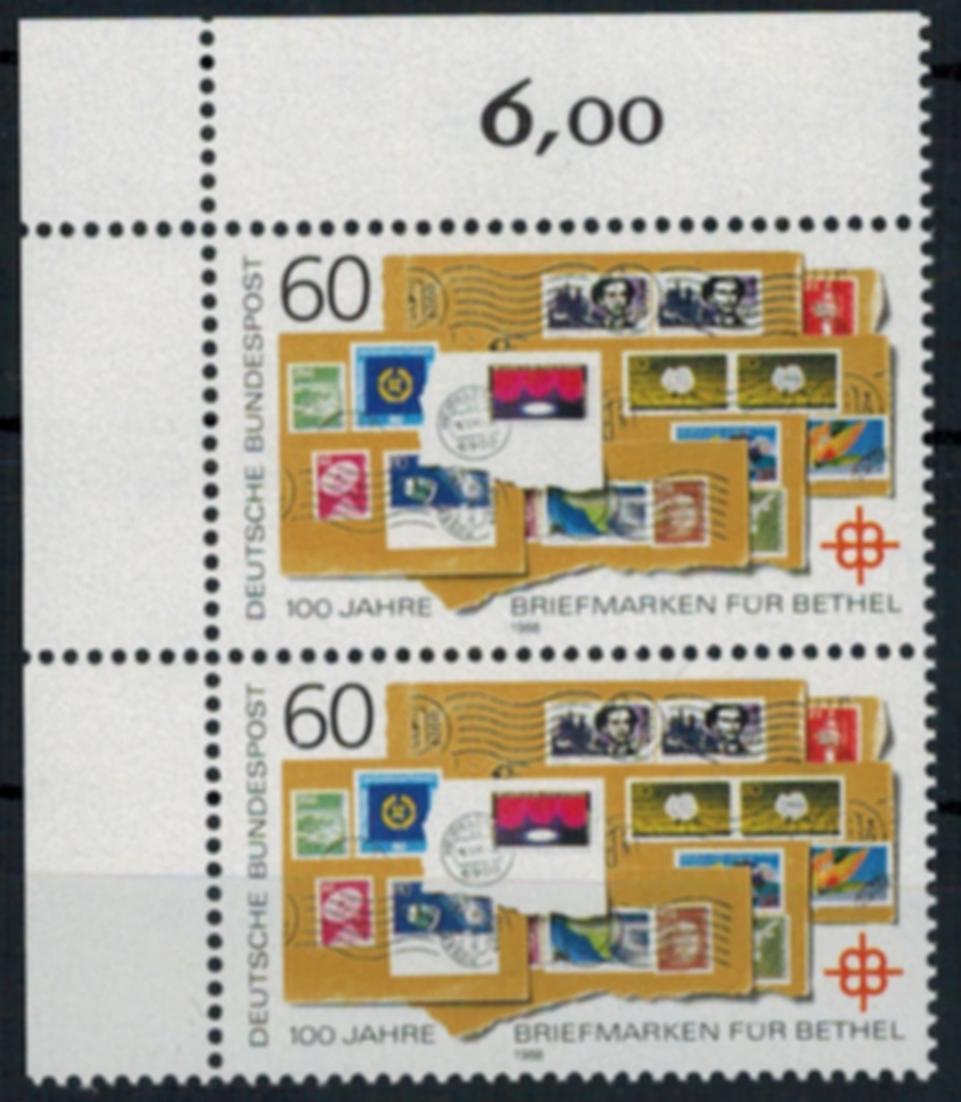 Bundesrepublik 1395 Plattenfehler I Bethel 1988 Eckrandpaar postfrisch