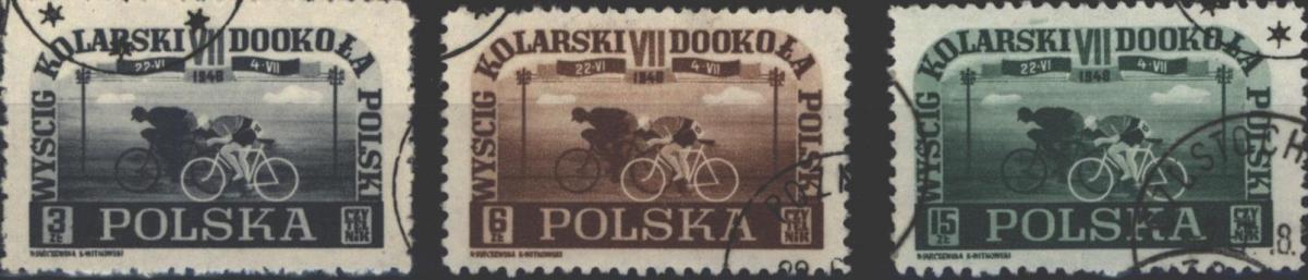 Polen 487-489 Radrennen Rund um Polen 1948 komplett gestempelt
