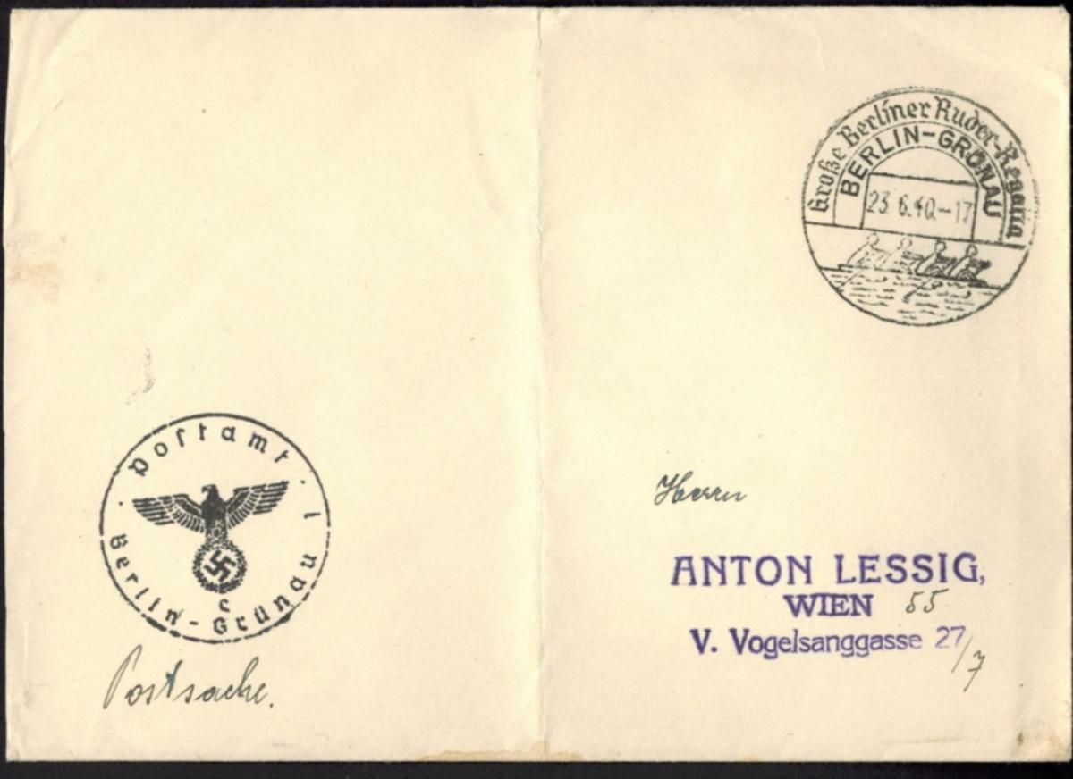 Deutsches Reich Postsache Wassersport Berlin-Grünau 3. Große Ruder-Regatta 1940