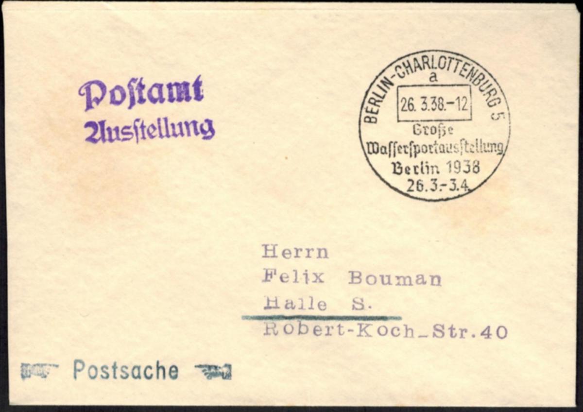 DR Brief Postsache SST Berlin-Charlottenburg Wassersportausstellung 1938