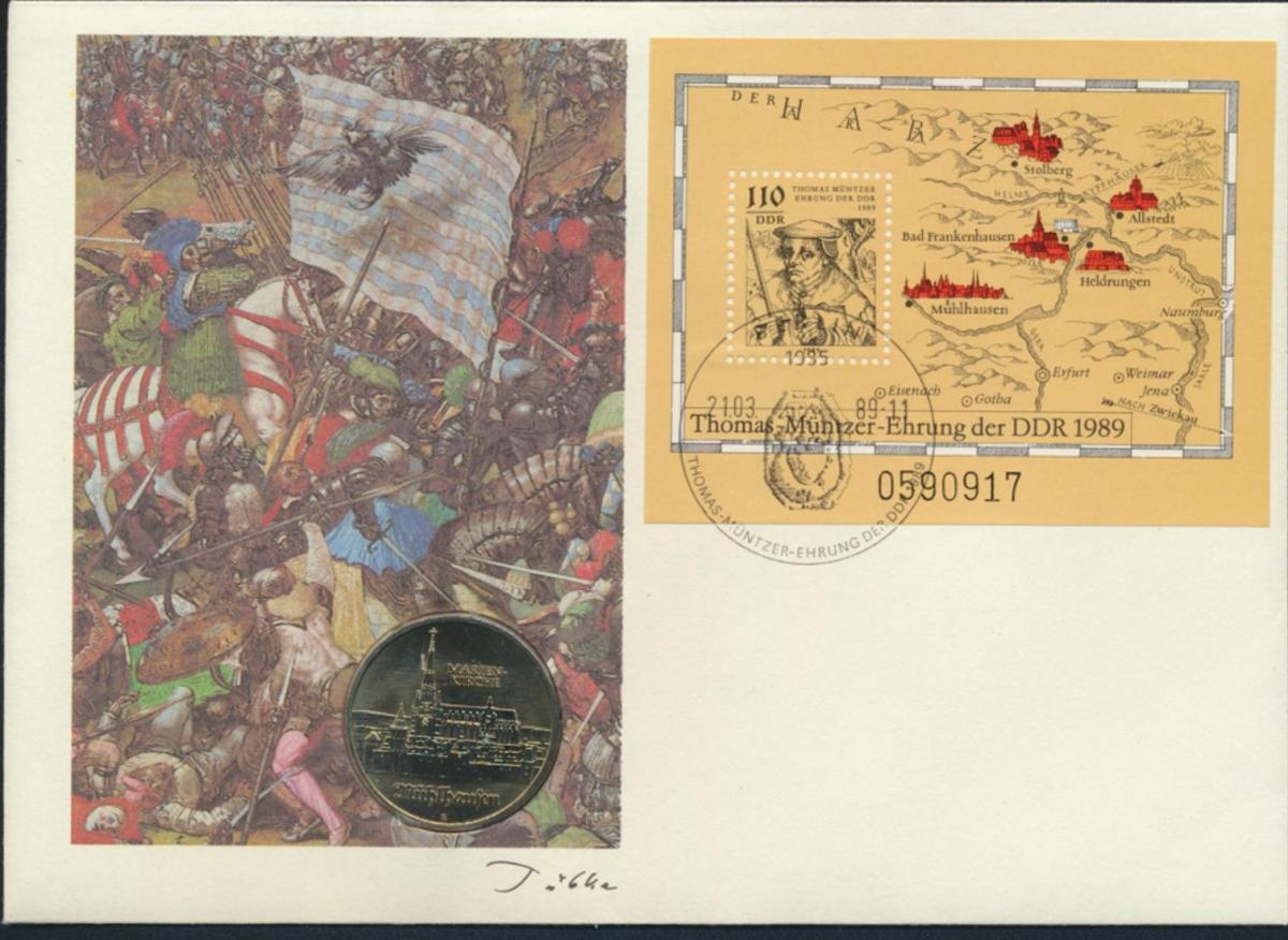 DDR Numisbrief Thomas Münzer Ehrung der DDR 1989 mit 5M-Münze