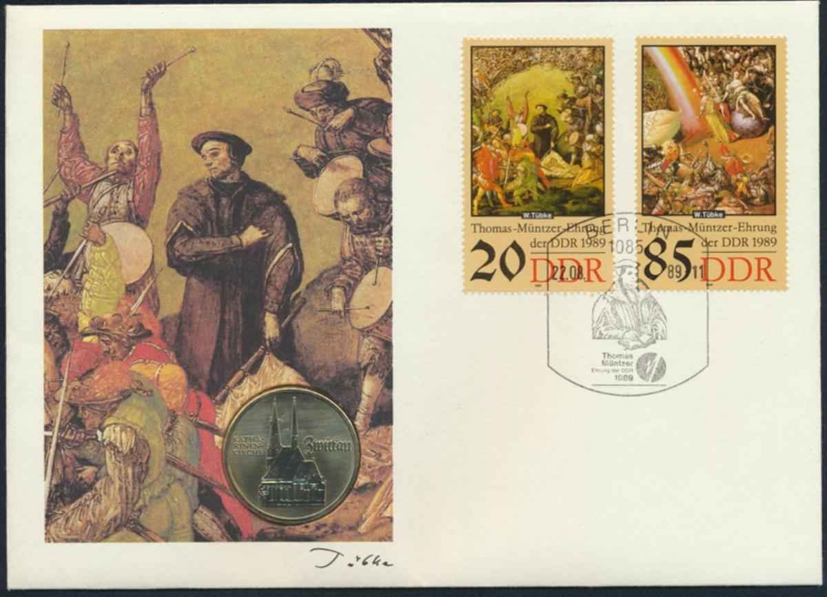 DDR Numisbrief Thomas Münzer Ehrung der DDR 1989 mit 5M-Münze Zwickau 0