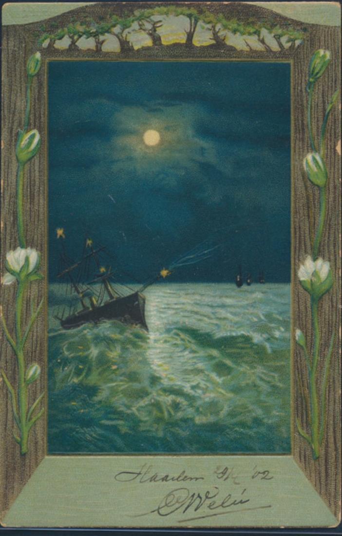 Ansichtskarte Künstler nach Haarlem Niederlande 1902 Schiff in stürmischer See