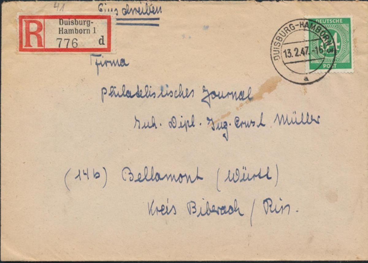 Besetzung Brief Einschreiben 936 b Duisburg-Hamborn nach Bellamont 13.2.1947