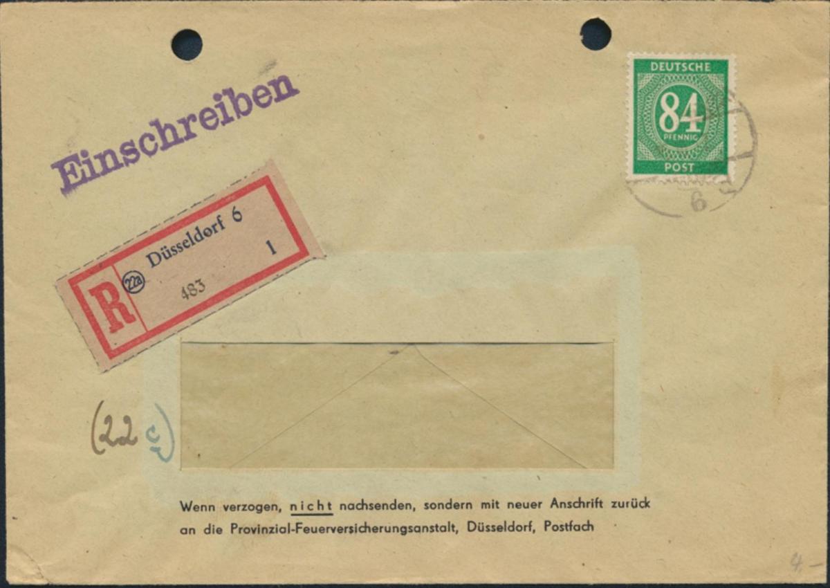 Alliierte Besetzung R-Brief EF 936 Düsselfdorf nach Geilenkirchen 16.10.1947