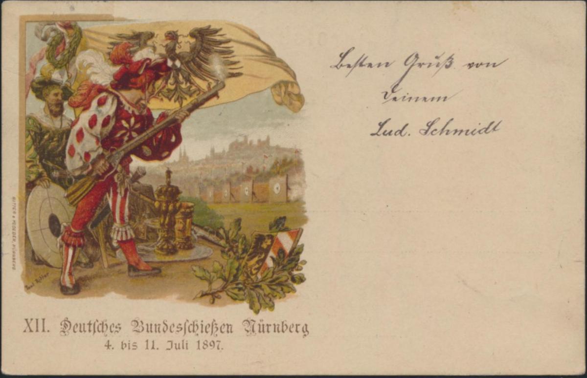 Ansichtskarte Privat-Ganzsache Bayern PP 7 C 1 01 Bundesschiessen Nürnberg 1897