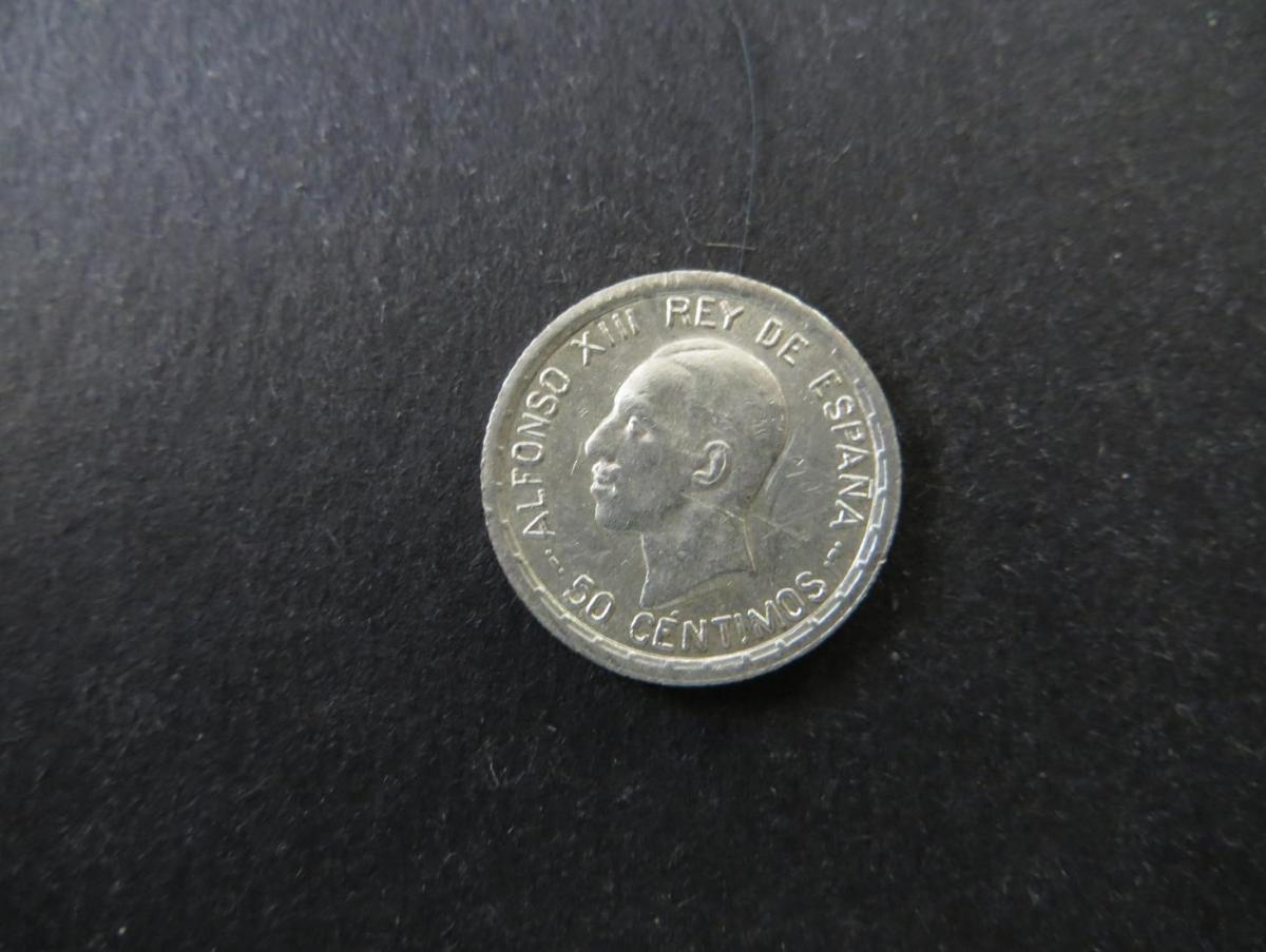 Münze Spanien Alfonso XIII 50 Centimos 1926 Silber vzgl. Schön: 15