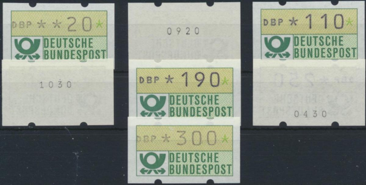 Bund ATM - Nr. 1.1 hu VS 2 mit Zählnummer**  Emblem Bundespost