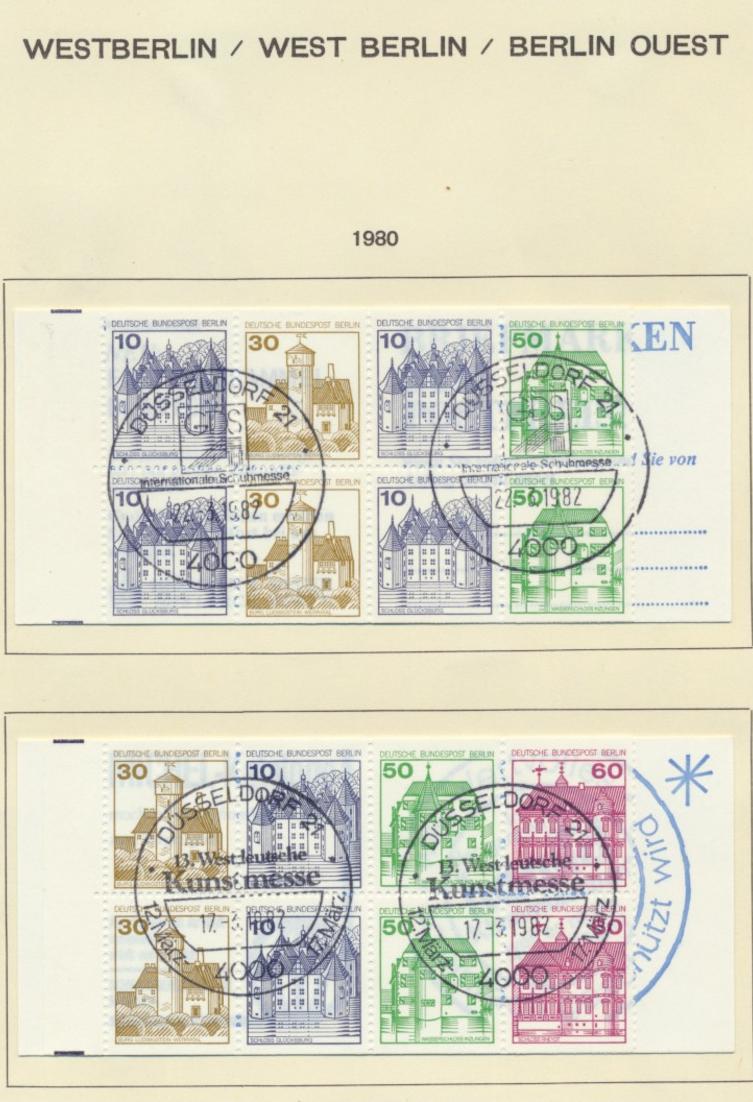 2x Berlin Markenheftchen MH 11 Burgen und Schlösser 1980 Sonderstempel H-Blätter