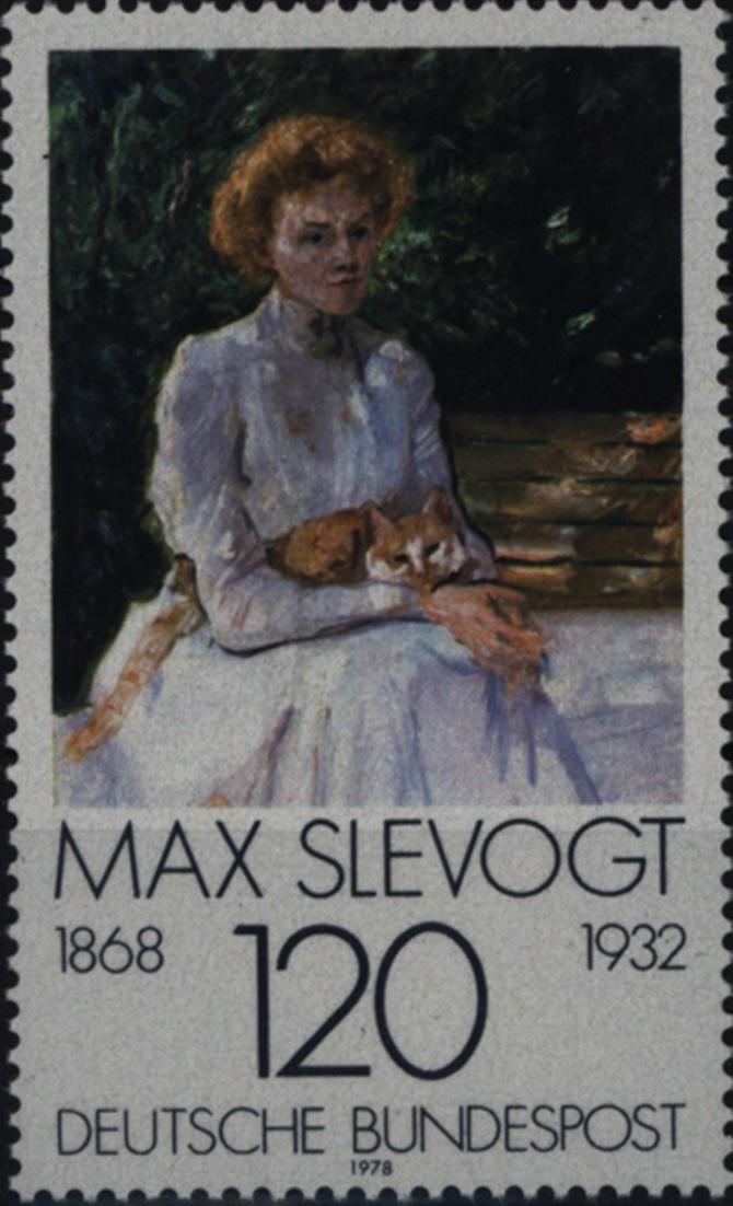 Bundesrepublik 988 Max Slevogts Dame mit Katze Plattenfehler I postfrisch ** MNH
