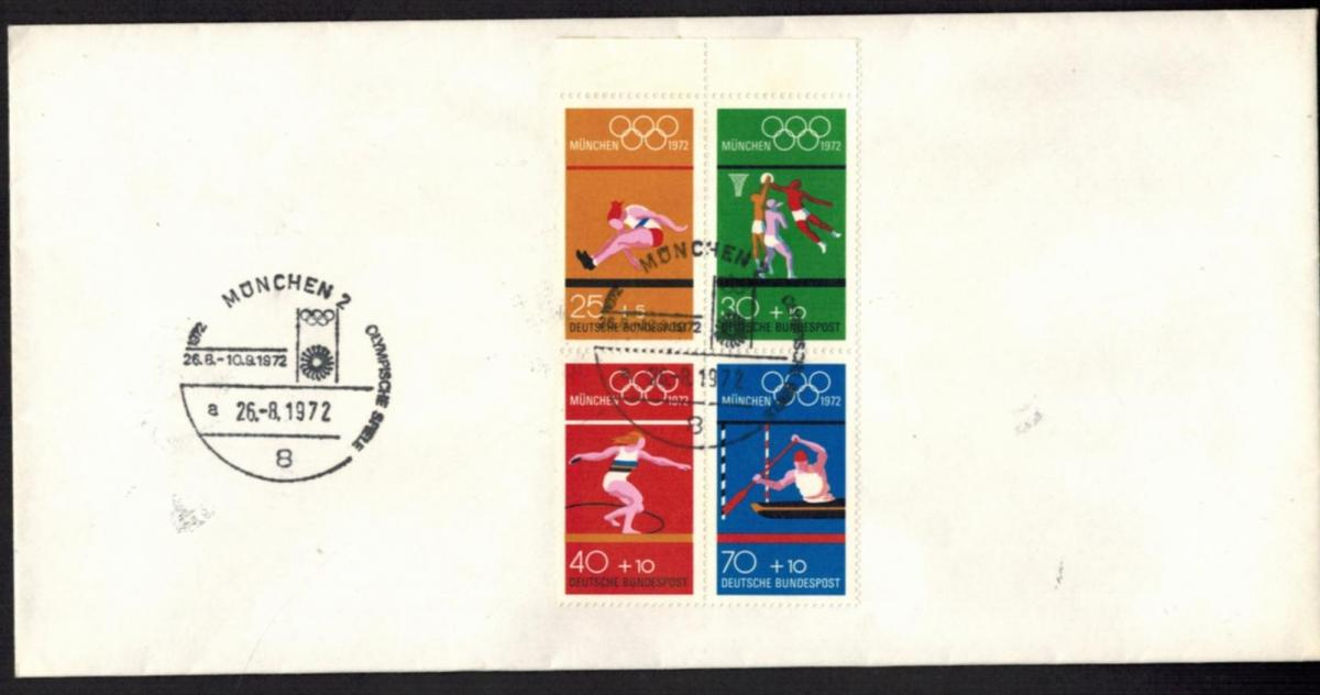 Bund Zusammendruck Heftchenblatt 22 Olympia München 1972 auf Umschlag
