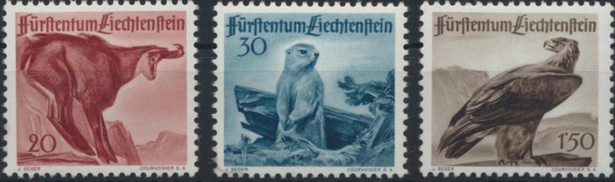 Liechtenstein 253-255 Jagd Tiere Greifvögel Steinadler tadellos postfrisch MNH