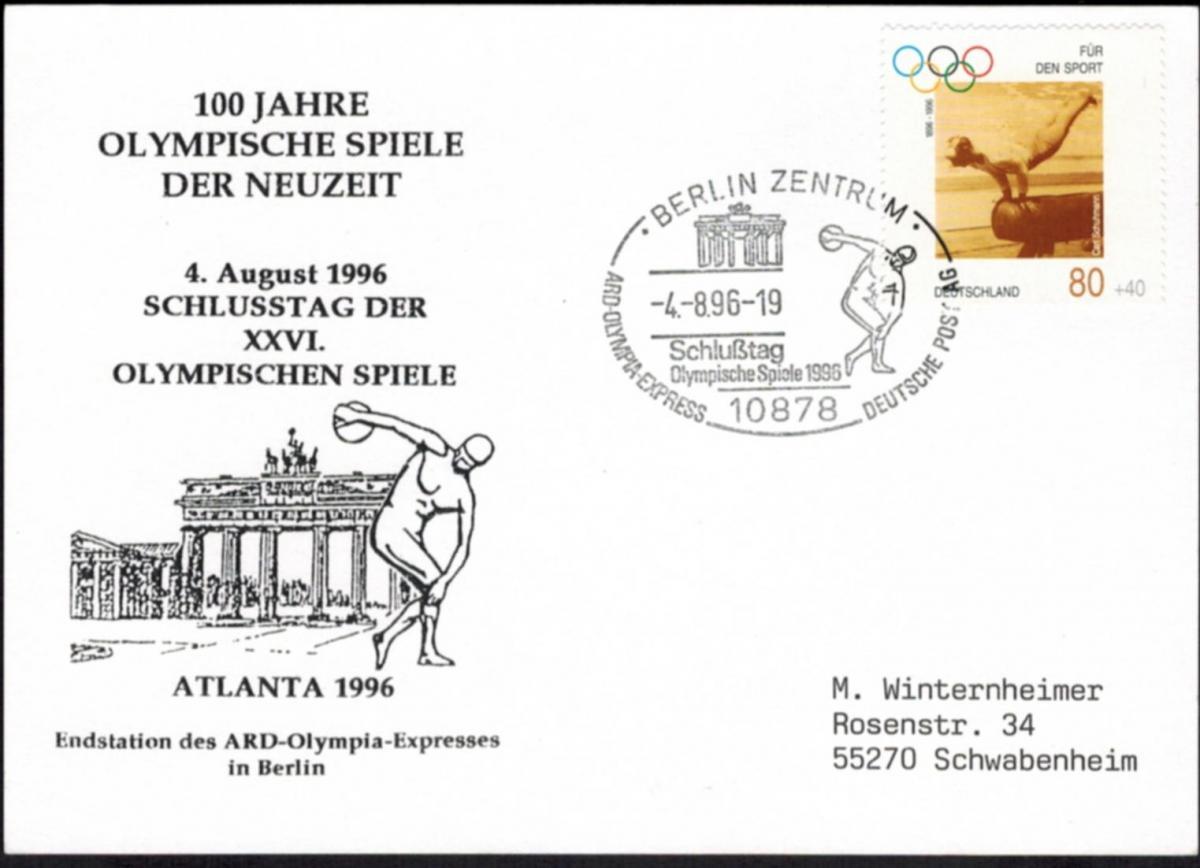 Bund Berlin Sonderkarte Olympia 1996 + Motiv Brandenburger Tor nach Schwabenheim