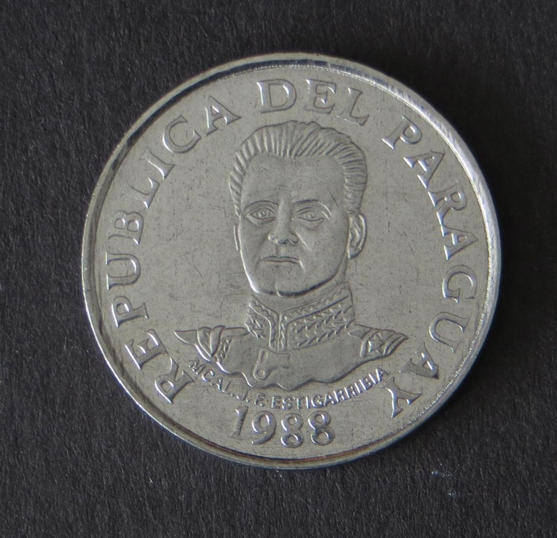 Münze Paraguay 50 Guaranies Marshall Estigarribia / Acaray-Staudamm 1988 stgl